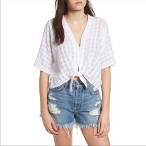 RAILS Thea powder check tie front button up blouse
